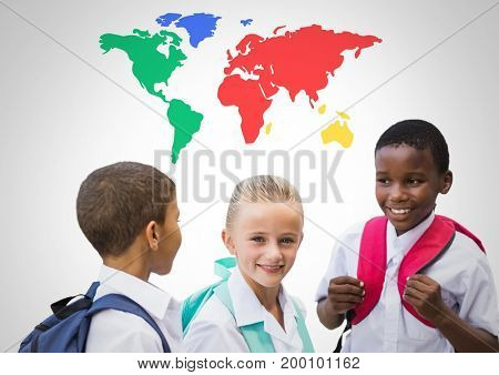 Digital composite of School kids laughing in front of colorful world map
