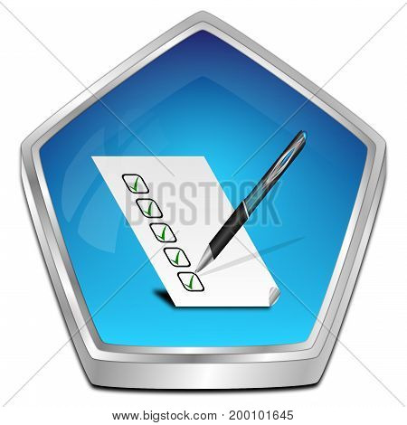 blue Button with check list - 3D illustration