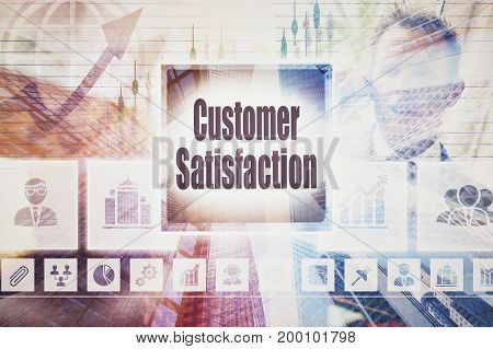 A coloured display of a business Customer Satisfaction collage concept