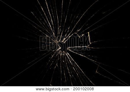 Broken glass isolated on black background. Copy space