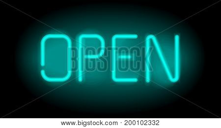 Open realistic neon inscription. Light sign on black background. Can be used for advertising and promotion, design flyer or placard.