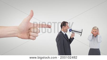 Digital composite of Hand pointing at business people against white background