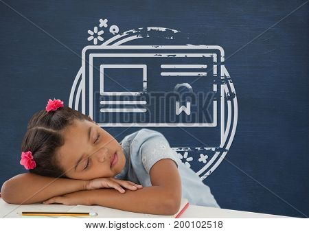Digital composite of Student girl sleeping on a table against blue blackboard with school and education graphic