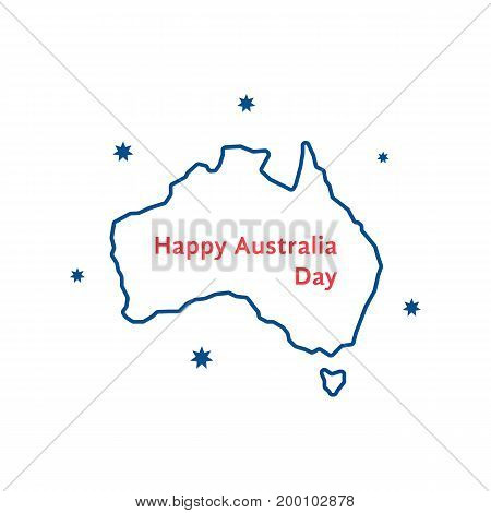 thin line happy australia day. concept of memorial, culture, geography, 26th jan month, imprint, army workforce. isolated on white background. flat style trend modern logo design vector illustration