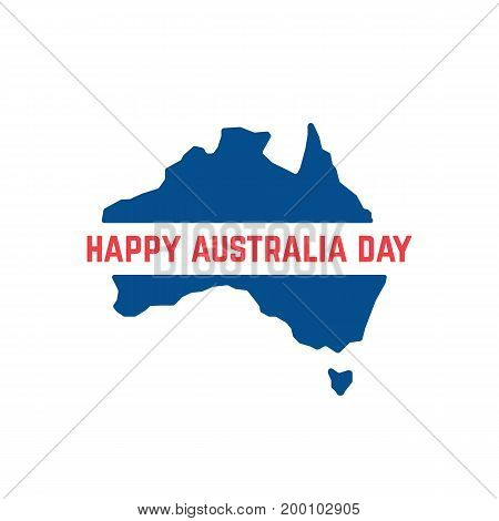 red and blue australia day icon. concept of memorial, culture, geography, 26th jan month, imprint, army workforce. isolated on white background. flat style trend modern logo design vector illustration