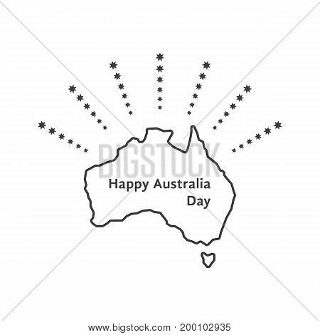 happy australia day with fireworks of stars. concept of memorial, culture, geography, 26th jan month, imprint army workforce. isolated on white background. linear style logo design vector illustration