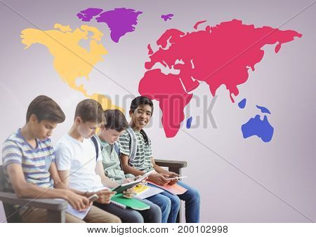 Digital composite of Kids sitting in front of colorful world map