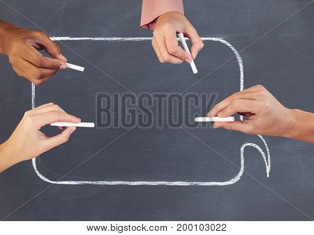 Digital composite of Hands writing in empty chat bubble on blackboard with chalk