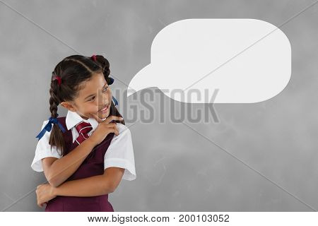 Digital composite of Couple with speech bubble thinking against grey background