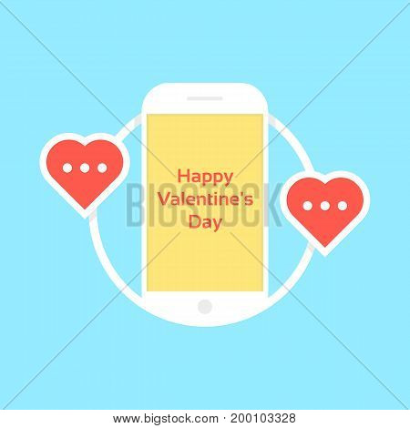 happy valentine day like messaging. concept of penpal, rendezvous, gadget, device, affair, flirt, connect, call. isolated on blue background. flat style trend modern logo design vector illustration