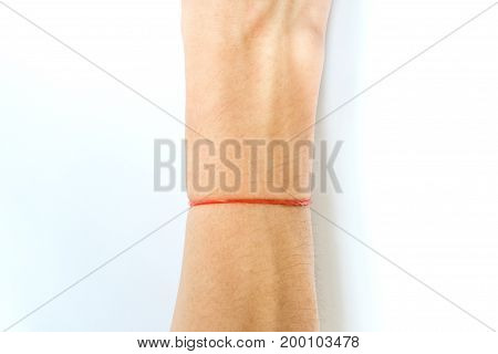 Red Rubber Band Tying Hand isolated on white background
