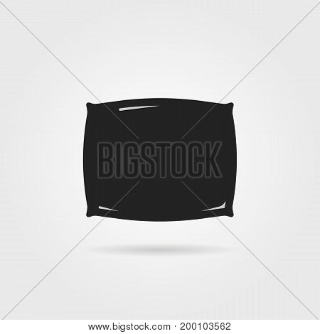 simple black pillow icon with shadow. concept of awake, lazy, vacation, insomnia, dormitory, comfy, house item. isolated on gray background. flat style trend modern logo design vector illustration