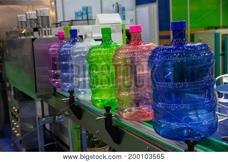 Colorful of bottle on bottle blowing machine