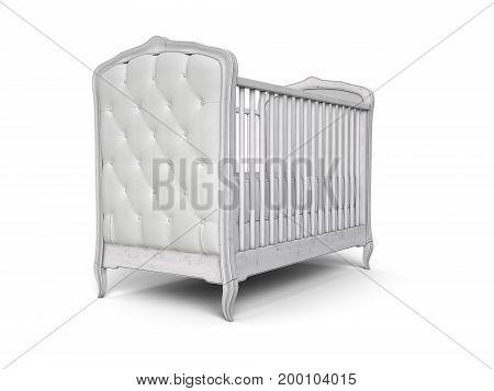 Baby crib woodden vintage design isolated on white. 3d illustration