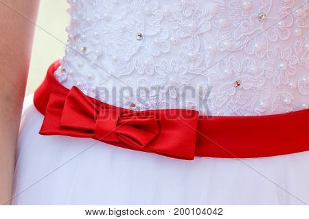 Red bow on wedding dress on bride