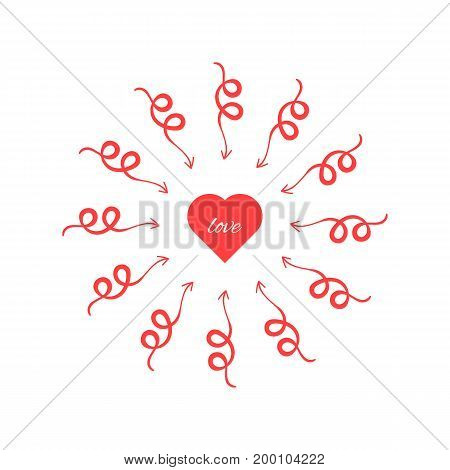 red heart with arrows around. concept of cupidon, rendezvous, amorousness, find love at first sight, jealousy. isolated on white background. flat style trend modern logo design vector illustration