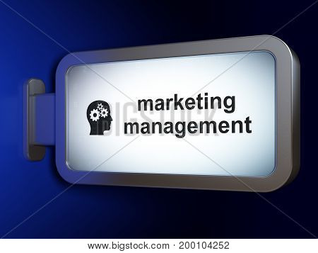 Advertising concept: Marketing Management and Head With Gears on advertising billboard background, 3D rendering