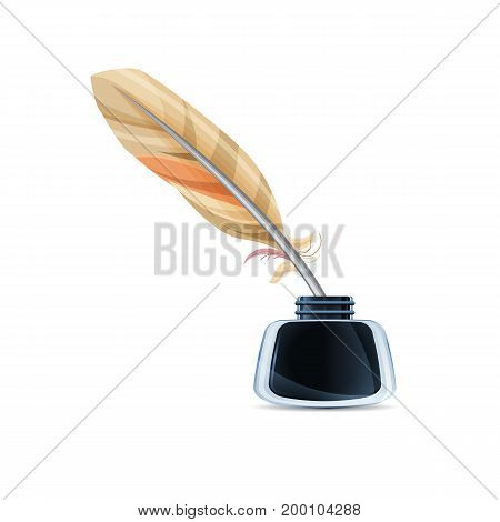 Glass inkwell with feather, isolated. Realistic vector art illustration.
