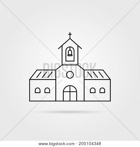 thin line black church with shadow. concept of fellowship, orthodox, peace, easter, believer, hope, congregation. isolated on gray background. linear style trend modern logo design vector illustration poster