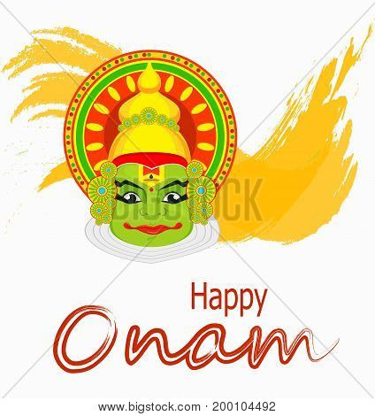 Kathakali face with heavy crown for festival of Onam celebration. Colorful vector illustration on abstract background.