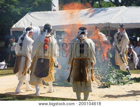 SAIPAN, CNMI--Agon Shu Buddhist Denomination members gather at a sacred fire rites at the Japanese Peace Memorial in Marpi, Saipan in November 2014.
