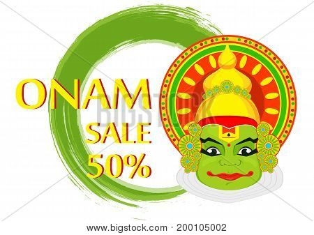 Kathakali face with heavy crown for festival of Onam celebration. Colorful vector illustration on abstract background for sale
