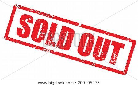 Grunge stamp with word Sold out. Square grunge rubber stamp on white background. Vector stock.
