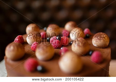 Top view of a dessert cake from mascarpone cheese, coffee espresso, eggs, sugar, cookies, and chocolate decorated with berries on a dark blurred background. Tiramisu cake, close-up. Sweets concept.