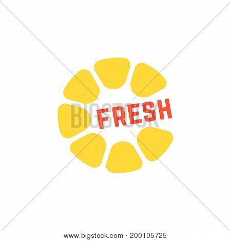 simple yellow fresh juice logo. concept of breakfast, tropical, round citron, nutrition, citric, cooking, cafe. isolated on white background. flat style trend modern brand design vector illustration