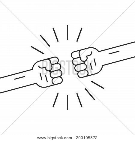 fighting gesture with two thin line fists. concept of danger, riot, revolt, versus, aggression, confrontation. isolated on white background. linear style trend modern logo design vector illustration