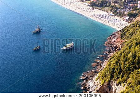 View from the mountain on Cleopatra Beach (Alanya, Turkey).