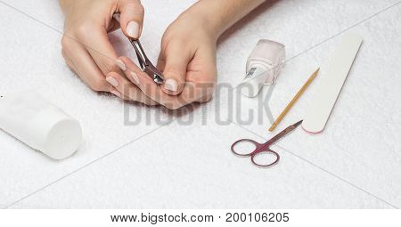 Woman Makes A Manicure. Beautiful Female Hands.