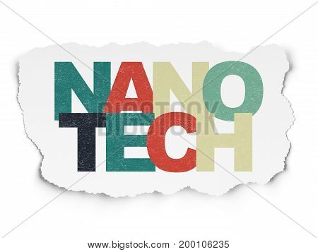 Science concept: Painted multicolor text Nanotech on Torn Paper background