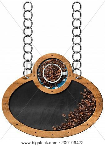 Oval and empty blackboard with roasted coffee beans and a cup. Hanging from a metal chain and isolated on a white background