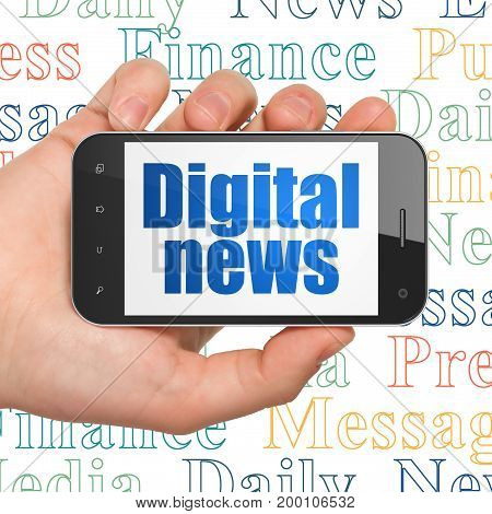 News concept: Hand Holding Smartphone with  blue text Digital News on display,  Tag Cloud background, 3D rendering
