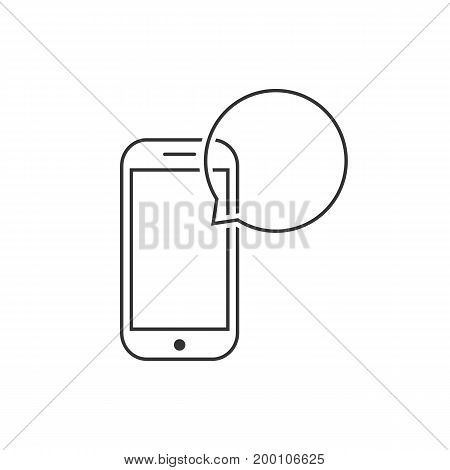 messaging with thin line smart phone. concept of data traffic, voicemail, sms notice, dialogue, e-mail, inbox. isolated on white background. flat style trend modern logotype design vector illustration