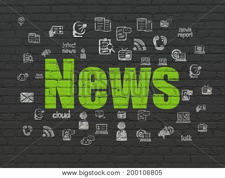 News concept: Painted green text News on Black Brick wall background with  Hand Drawn News Icons