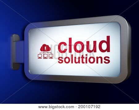 Cloud technology concept: Cloud Solutions and Cloud Network on advertising billboard background, 3D rendering