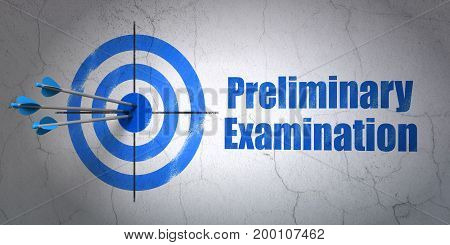 Success Learning concept: arrows hitting the center of target, Blue Preliminary Examination on wall background, 3D rendering