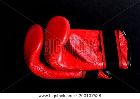 Pair Of Red Boxing Gloves For Heavyweight Category Fight