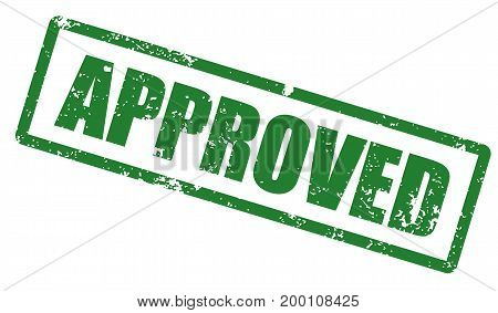 Grunge stamp with word Approved. Square grunge rubber stamp on white background. Vector stock.