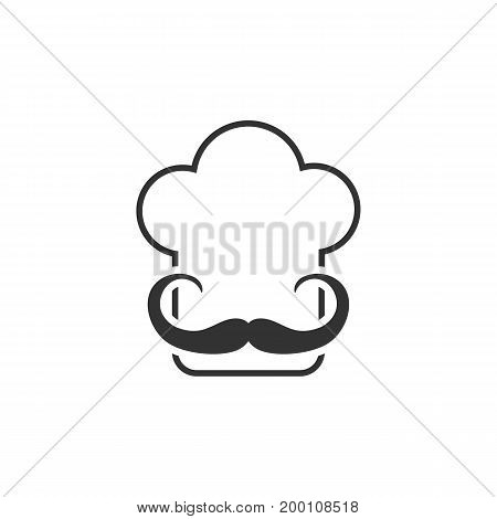 simple thin line chef icon. concept of headwear, retro badge, hobby, elegant, costume, stamp, haute cuisine. isolated on yellow background. flat style trend modern chef logo design vector illustration