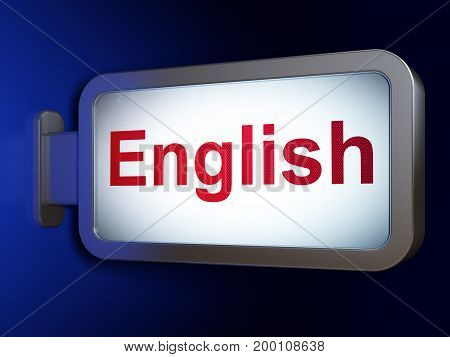Studying concept: English on advertising billboard background, 3D rendering