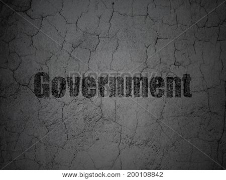 Political concept: Black Government on grunge textured concrete wall background