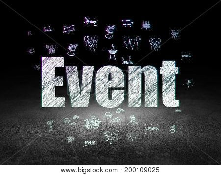 Entertainment, concept: Glowing text Event,  Hand Drawn Holiday Icons in grunge dark room with Dirty Floor, black background
