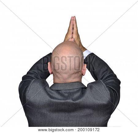 Businessman praying and asking help.
