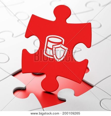 Database concept: Database With Shield on Red puzzle pieces background, 3D rendering