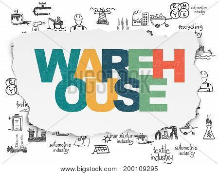 Manufacuring concept: Painted multicolor text Warehouse on Torn Paper background with  Hand Drawn Industry Icons