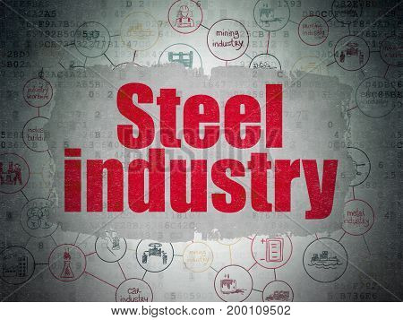 Manufacuring concept: Painted red text Steel Industry on Digital Data Paper background with  Scheme Of Hand Drawn Industry Icons