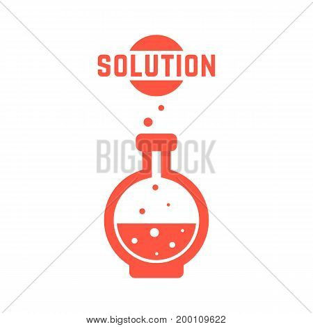 solution with red lab bottle. concept of creativity, material synthesis, process, assay, toxic, chemist, industry. isolated on white background. flat style trend modern logo design vector illustration